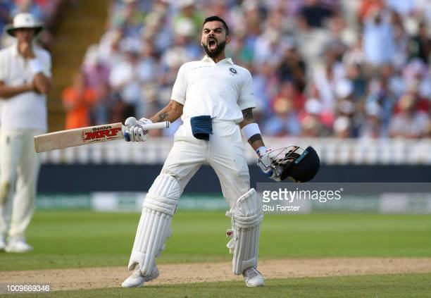 India batsman Virat Kohli celebrates his century during day two of the First Specsavers Test Match between England and India at Edgbaston on August...
