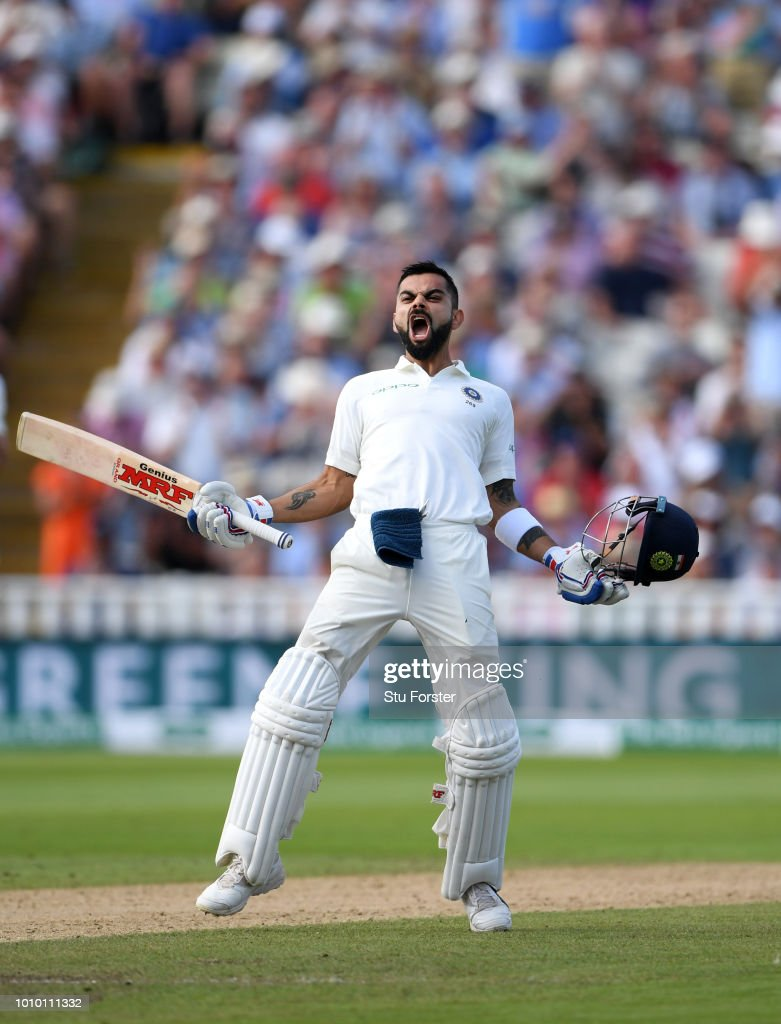 India batsman Virat Kohli celebrates his century during day two of the First Specsavers Test Match between England and India at Edgbaston on August 2, 2018 in Birmingham, England.