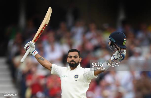 India batsman Virat Kohli celebrates reaching his century during day four of the 3rd Test Match between England and India at Trent Bridge on August...
