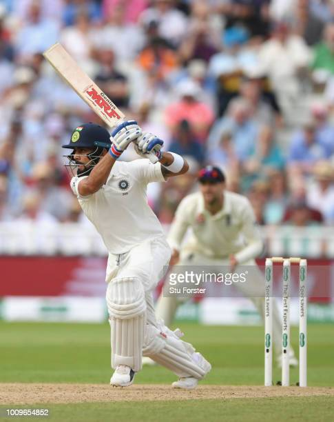 India batsman Virat Kohli drives during day two of the First Specsavers Test Match between England and India at Edgbaston on August 2, 2018 in...