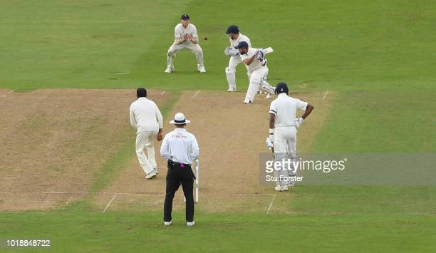 India batsman Virat Kohli edges Adil Rashid for 97 runs to be caught by Ben Stokes at slip during day one of the 3rd Specsavers Test Match between...
