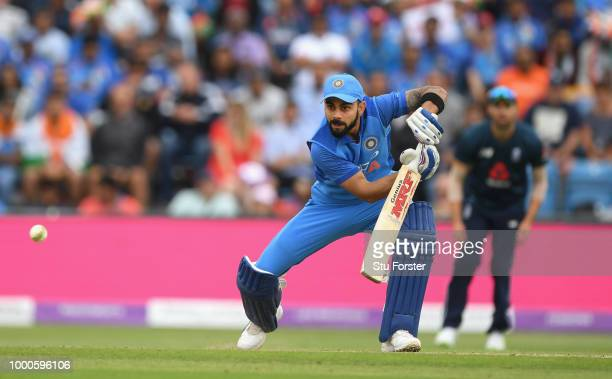 India batsman Virat Kohli hits out during 3rd ODI Royal London One Day match between England and India at Headingley on July 17 2018 in Leeds England