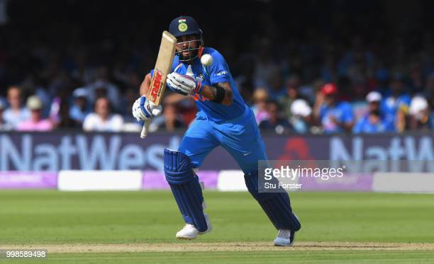 India batsman Virat Kohli hits out during the 2nd ODI Royal London One Day International match between England and India at Lord's Cricket Ground on...