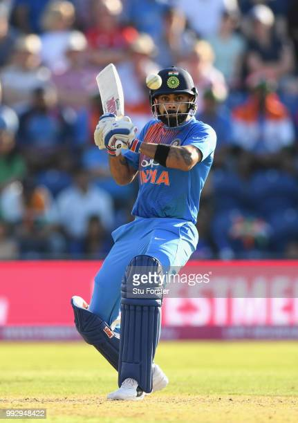 India batsman Virat Kohli hits out during the 2nd Vitality T20 International between England and India at Sophia Gardens on July 6, 2018 in Cardiff,...