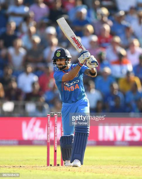 India batsman Virat Kohli hits out during the 2nd Vitality T20 International between England and India at Sophia Gardens on July 6 2018 in Cardiff...