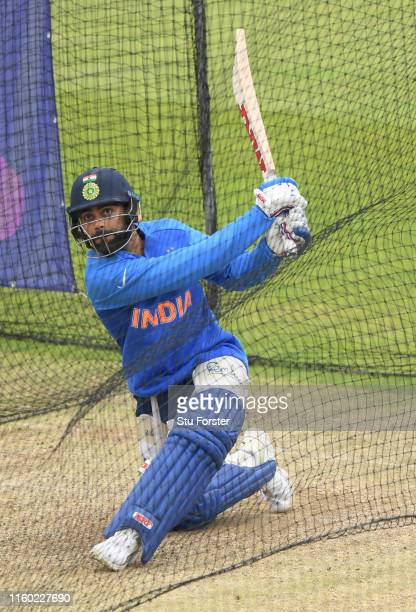 India batsman Virat Kohli in action during India nets ahead of their Cricket World Cup Match against Sri Lanka at Headingley on July 05, 2019 in...