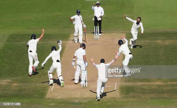 India batsman Virat Kohli is caught by Alastair Cook off the bowling of Moeen Ali after review during the 4th Specsavers Test Match between England...