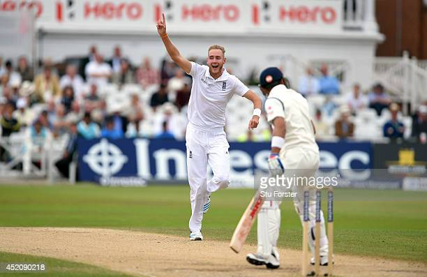India batsman Virat Kohli is dismissed by England bowler Stuart Broad during day five of the 1st Investec Test Match between England and India at...