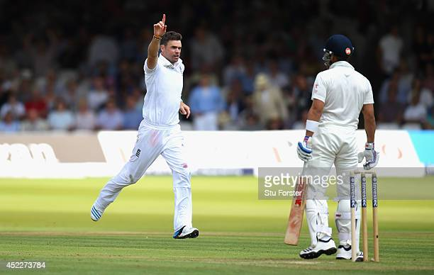 India batsman Virat Kohli is dismissed by James Anderson during day one of 2nd Investec Test match between England and India at Lord's Cricket Ground...