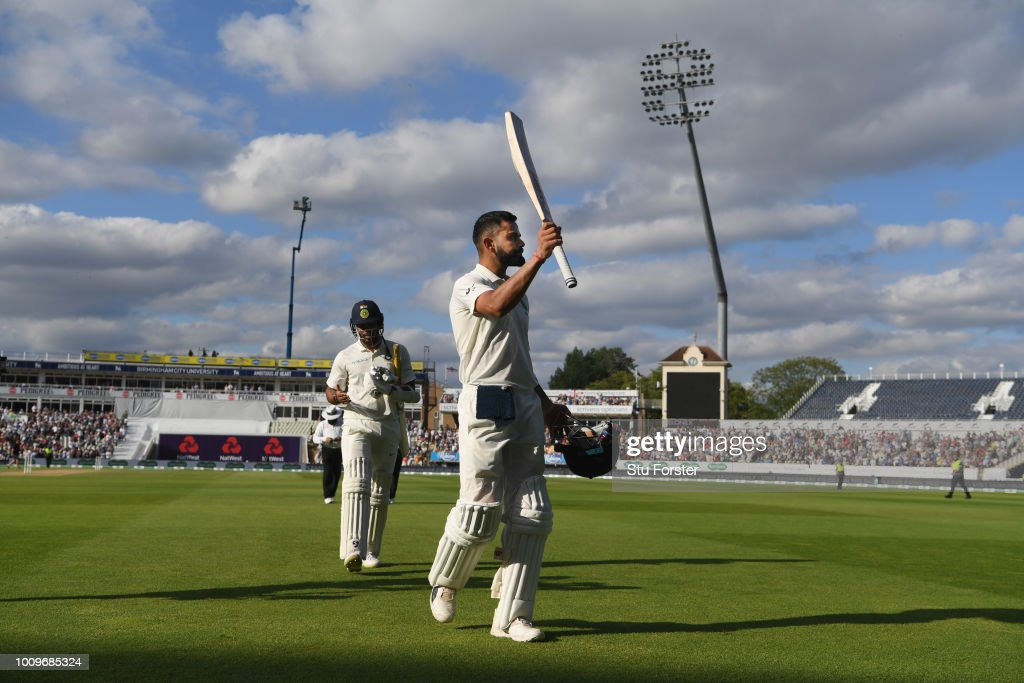 India batsman Virat Kohli leaves the field after his innings of 149 during day two of the First Specsavers Test Match between England and India at Edgbaston on August 2, 2018 in Birmingham, England.