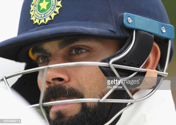India batsman Virat Kohli looks on during day four of the 3rd Test Match between England and India at Trent Bridge on August 20, 2018 in Nottingham,...