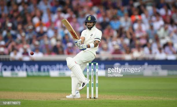 India batsman Virat Kohli pulls a ball to the boundary during day one of the 3rd Specsavers Test Match between England and India at Trent Bridge on...