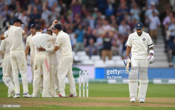 India batsman Virat Kohli reacts after being dismissed by Adil Rashid for 97 runs during day one of the 3rd Specsavers Test Match between England and...