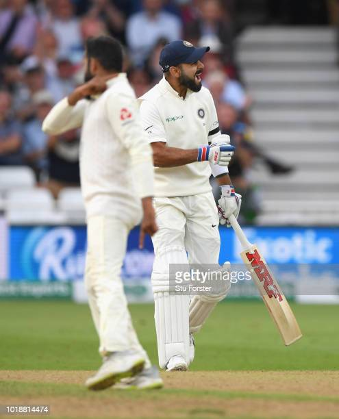 India batsman Virat Kohli reacts after being dismissed by Adil Rashid for 97 runs caught by Ben Stokes during day one of the 3rd Specsavers Test...