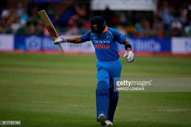 India batsman Virat Kohli reacts as he leaves the ground after having been caught out by South Africa fielder JP Duminy on a ball by South Africa...