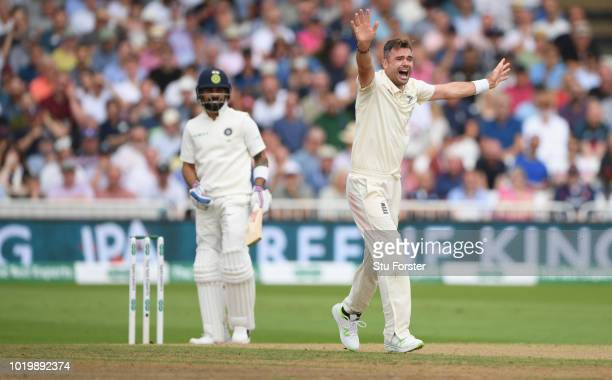 India batsman Virat Kohli survives an lbw appeal from James Anderson during day four of the 3rd Test Match between England and India at Trent Bridge...