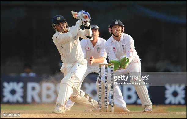 India batsman Virender Sehwag hits a six during his innings of 83 runs from 68 balls in the 1st Test match between India and England at MA...