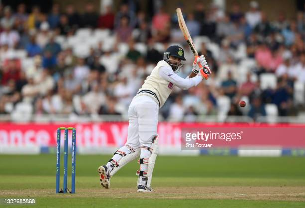 India batsmen Ravindra Jadeja in batting action during day three of the First Test Match between England and India at Trent Bridge on August 06, 2021...