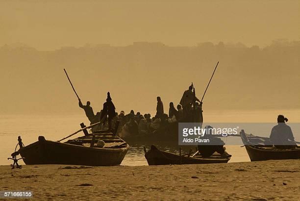 India, Bihar, Patna, boating on the Ganges