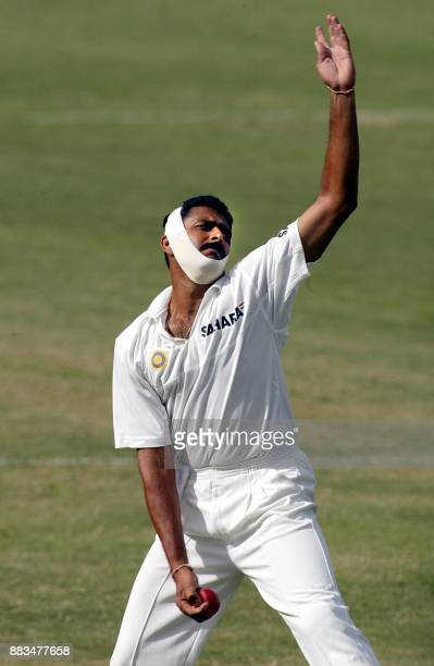 India bowler Anil Kumble bowls to West Indies Brian Lara during the 2002 forth Test Match Cricket Series 12 May 2002 at the Antigua Recreation...