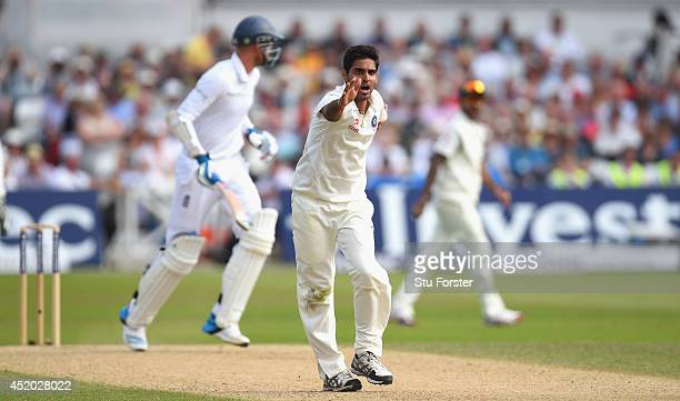 India bowler Bhuvneshwar Kumar appeals with success for the wicket of Stuart Broad during day three of the 1st Investec Test Match between England...