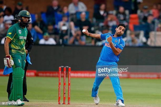 India bowler Bhuvneshwar Kumar delivers to South African batsman Aiden Markram during the fifth One Day International cricket match between South...