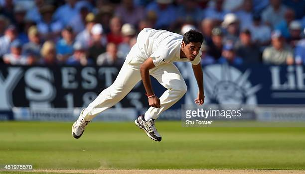 India bowler Bhuvneshwar Kumar in action during day two of the 1st Investec Test Match between England and India at Trent Bridge on July 10 2014 in...