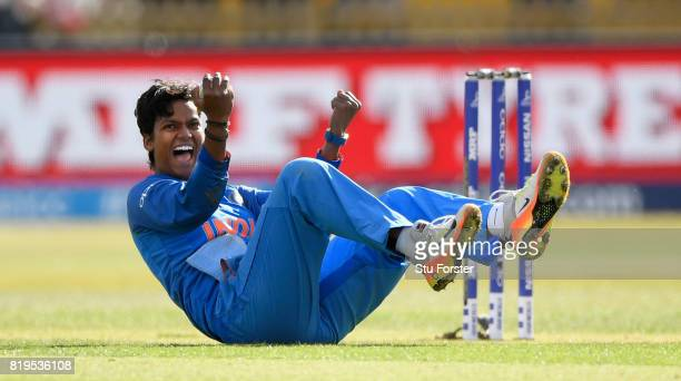 India bowler Deepti Sharma celebrates after catching Australia batsman Nicole Bolton off her own bowling during the ICC Women's World Cup 2017...