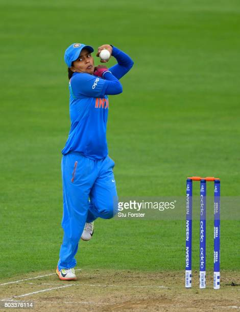 India bowler Ekta Bisht in action during the ICC Women's World Cup 2017 match between West Indies and India at The County Ground on June 29 2017 in...