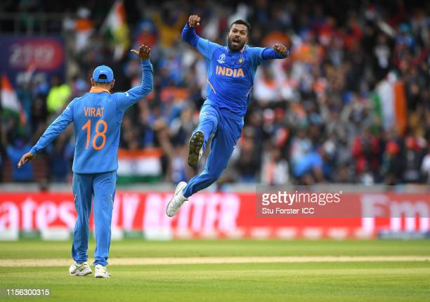 India bowler Hardik Pandya celebrates after dismissing Pakistan batsman Shoaib Malik during the Group Stage match of the ICC Cricket World Cup 2019...