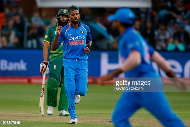India bowler Hardik Pandya celebrates after the dismissal of South Africa batsman JP Duminy during the fifth One Day International cricket match...