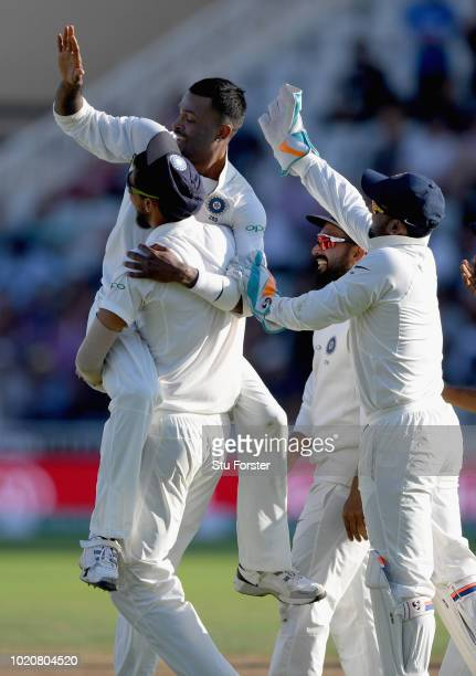 India bowler Hardik Pandya celebrates with Ishant Sharma after taking the wicket of Ben Stokes during day four of the 3rd Specsavers Test Match...