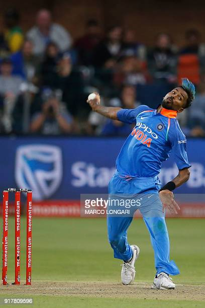 India bowler Hardik Pandya delivers a ball during the fifth One Day International cricket match between South Africa and India at Saint George Park...