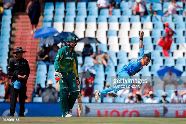 India bowler Hardik Pandya delivers a ball during the sixth One Day International cricket match between South Africa and India at the Super Sport...