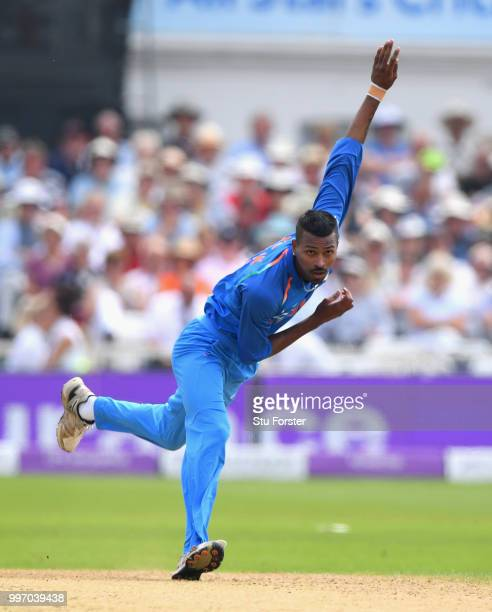 India bowler Hardik Pandya in action during the 1st Royal London One Day International match between England and India at Trent Bridge on July 12...