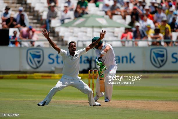 India bowler Hardik Pandya unsuccessfully appeals for a Leg Before Wicket during Day One of the cricket First Test match between South Africa and...