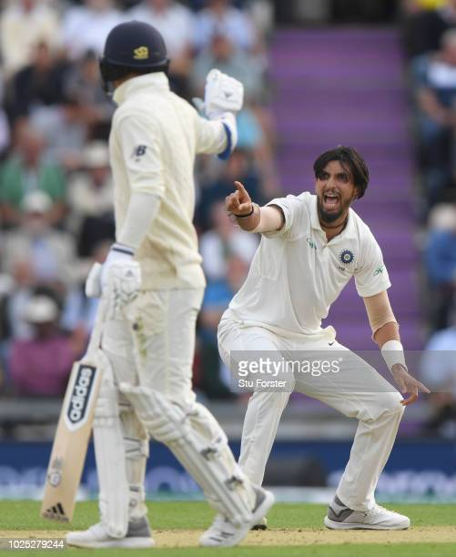 India bowler Ishant Sharma appeals with success for the wicket of Adil Rashid during day one of the 4th Specsavers Test Match between England and...