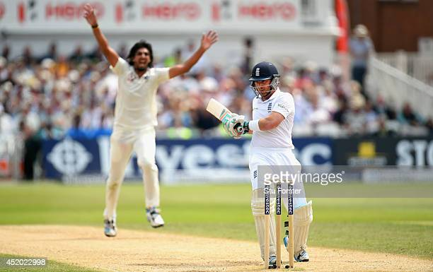 India bowler Ishant Sharma celebrates after dismissing England batsman Ian Bell during day three of the 1st Investec Test Match between England and...
