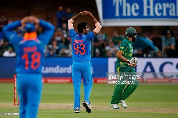 India bowler Jasprit Bumrah celebrate a dismissal next to South Africa batsman Aiden Markram during the fifth One Day International cricket match...