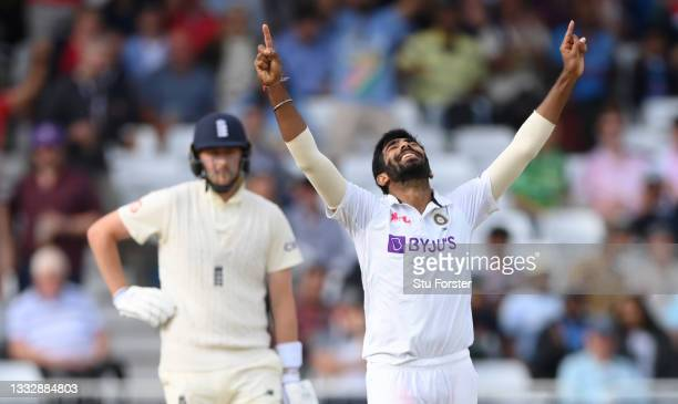 India bowler Jasprit Bumrah celebrates after bowling Stuart Broad for 0 during day four of the First Test Match between England nd India at Trent...