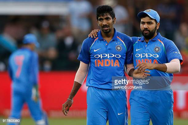 India bowler Jasprit Bumrah is celebrated for a dismissal during the fifth One Day International cricket match between South Africa and India at...