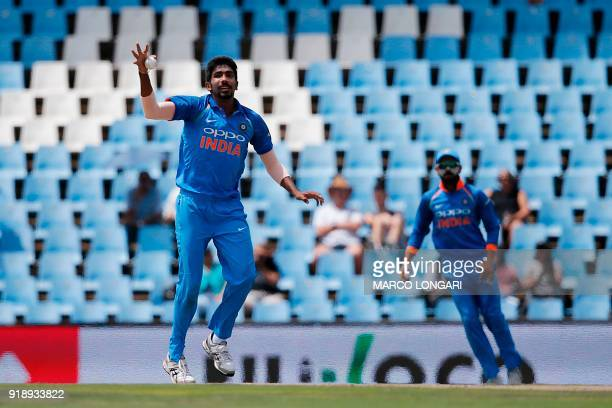 India bowler Jasprit Bumrah reaches to catch his own delivery during the sixth One Day International cricket match between South Africa and India at...