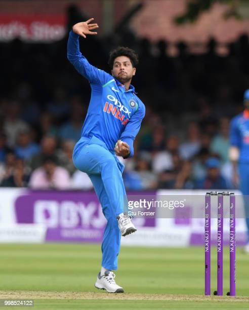 India bowler Kuldeep Yadav bowls during the 2nd ODI Royal London One Day International match between England and India at Lord's Cricket Ground on...
