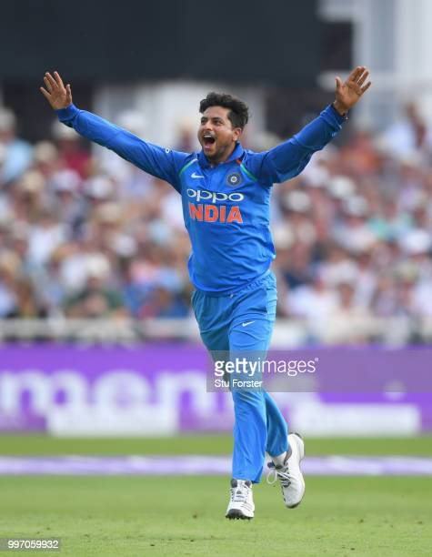 India bowler Kuldeep Yadav celebrates after dismissing Ben Stokes during the 1st Royal London One Day International match between England and India...