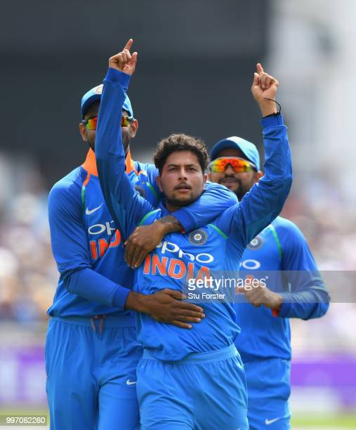 India bowler Kuldeep Yadav celebrates after dismissing Joe Root during the 1st Royal London One Day International match between England and India at...