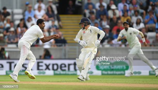 India bowler Ravi Ashwin takes a catch off his own bowling to dismiss Ben Stokes as Sam Curran looks on during day one of the First Specsavers Test...