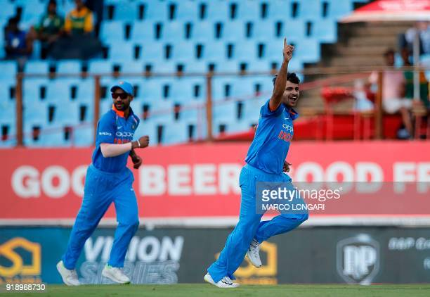 India bowler Shardul Thakur celebrates after dismissing South Africa batsman Farhaan Behardien during the sixth One Day International cricket match...