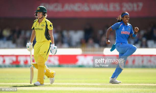 India bowler Shika Pandey celebrates after bowling Beth Mooney during the ICC Women's World Cup 2017 SemiFinal match between Australia and India at...