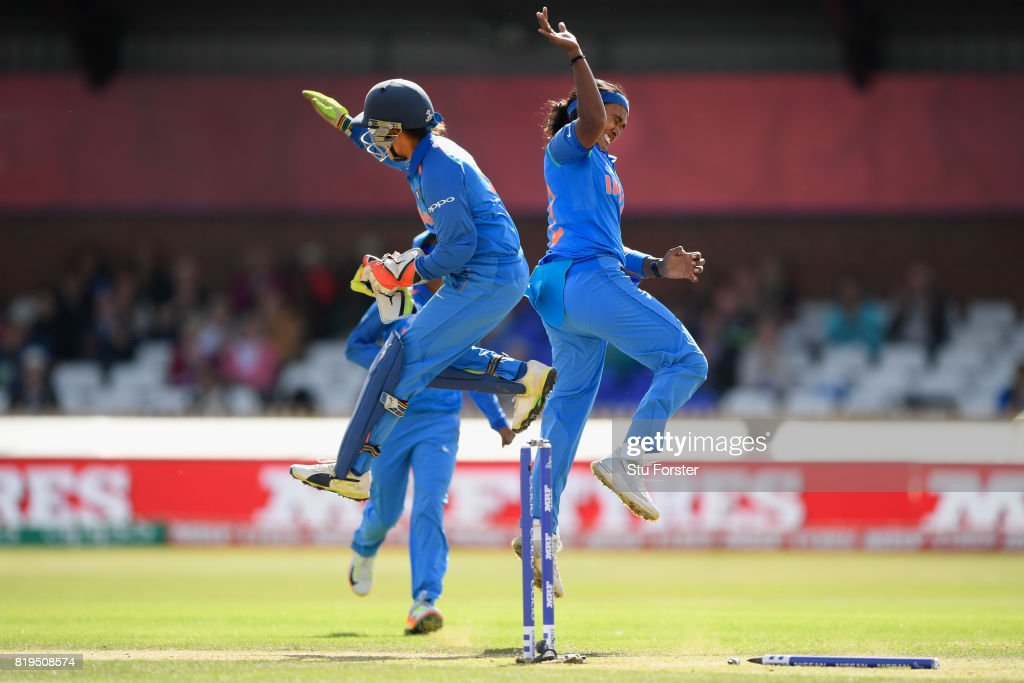 India bowler Shika Pandey celebrates with wicketkeeper Sushma Verma after Pandy had bowled Mooney during the ICC Women's World Cup 2017 Semi-Final match between Australia and India at The 3aaa County Ground on July 20, 2017 in Derby, England.