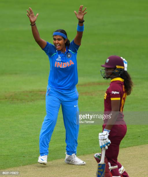 India bowler Shikha Pandey appeals for a wicket during the ICC Women's World Cup 2017 match between West Indies and India at The County Ground on...